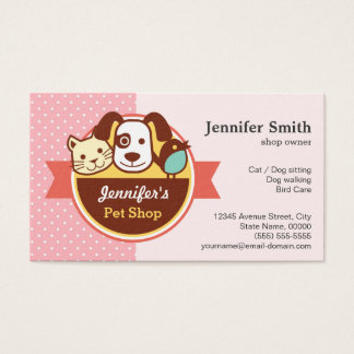 Pet Shop - Pink Polka Dots Business Card