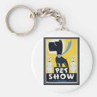 pet show basic round button key ring