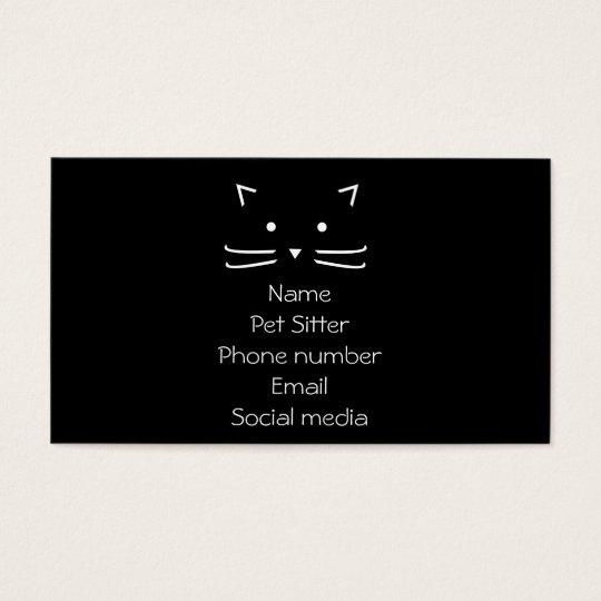 pet sitter black cat simple business card