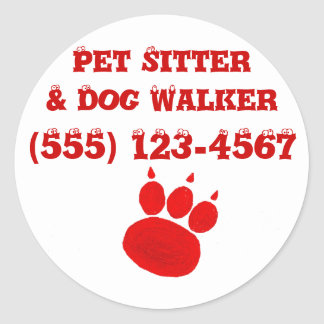 Pet Sitter & Dog Walker Paw Print Classic Round Sticker