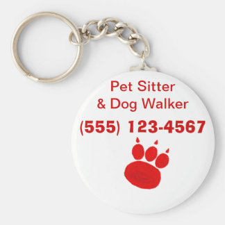Pet Sitter & Dog Walker Paw Print Key Ring