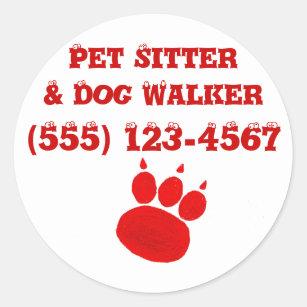 Pet Sitter & Dog Walker Paw Print Classic Round Sticker
