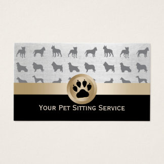 Pet Sitter Elegant Black & Gold Paw Print Business Card