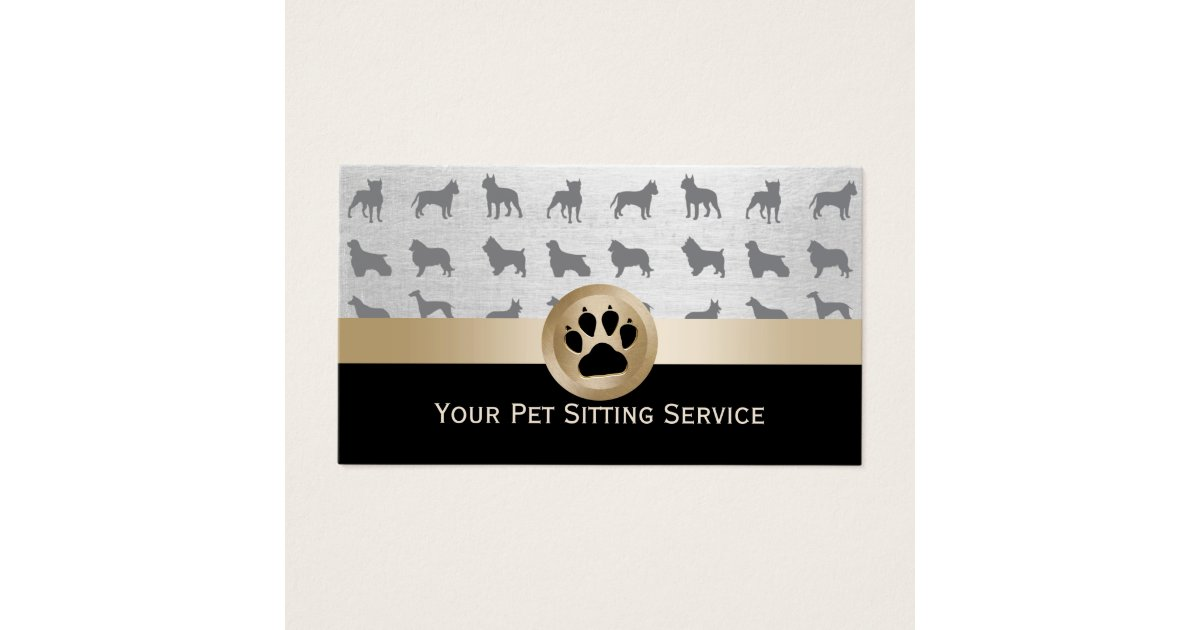 Pet Sitter Elegant Black & Gold Paw Print Business Card | Zazzle.co.uk