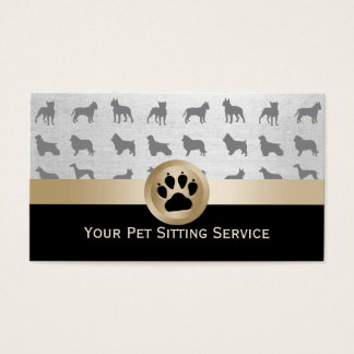 Pet Sitter Elegant Black & Gold Paw Print Business Card