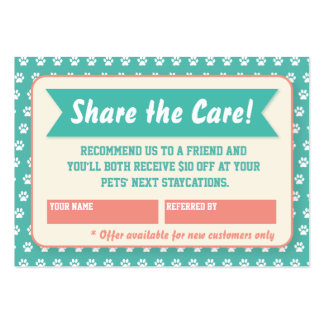 Pet Sitter Referral Card - Personalizable Pack Of Chubby Business Cards