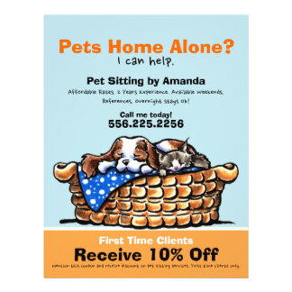 Pet Sitter Sitting Ad Coupon CKCS/kitten 21.5 Cm X 28 Cm Flyer