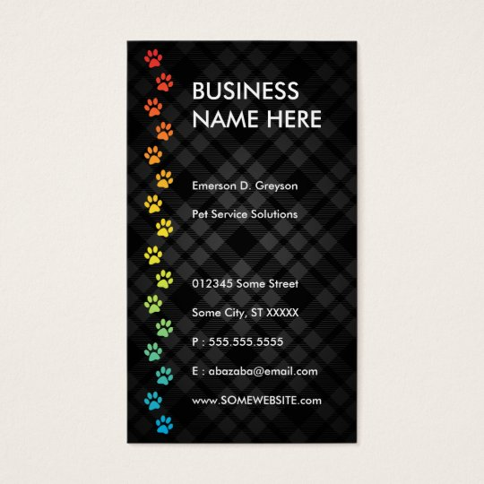 pet sitter streamline rainbow business card
