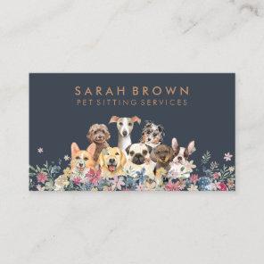 Pet Sitter Walker dog petcare navy brown Business Card