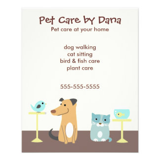 Pet Sitter's Advertising 11.5 Cm X 14 Cm Flyer