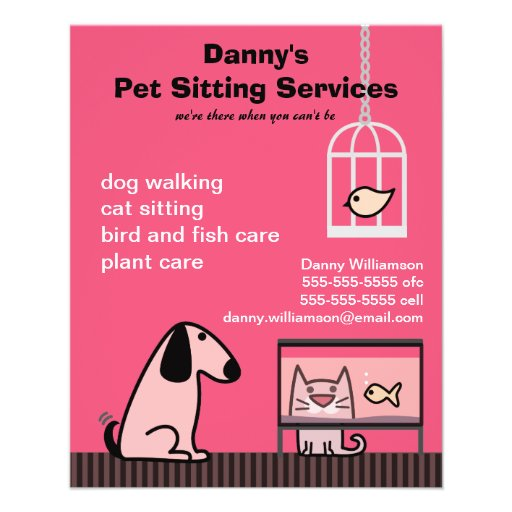 pet sitter u0026 39 s dog  u0026 cat red personalised flyer
