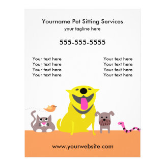 Pet Sitter's Flyer-dog, cat, bird, snake 21.5 Cm X 28 Cm Flyer