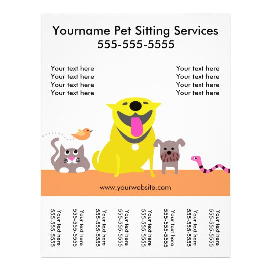 Pet Sitter's Flyer with tags-dog, cat, bird, snake