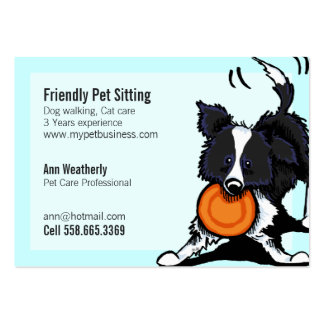 Pet Sitting Border Collie Friendly Bright Pack Of Chubby Business Cards