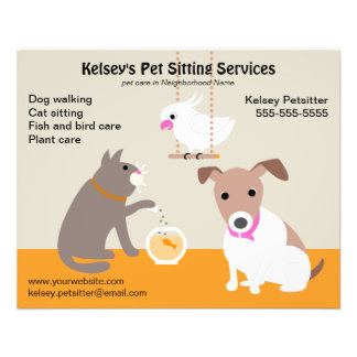 Pet Sitting Business Advertising 11.5 Cm X 14 Cm Flyer