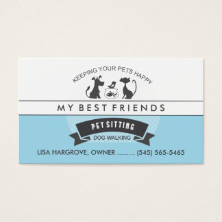 Pet Sitting & Care Blue & White Retro Design Business Card