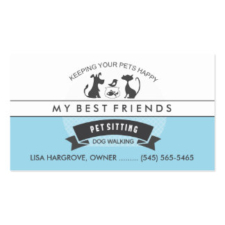 Pet Sitting & Care Blue & White Retro Design Pack Of Standard Business Cards