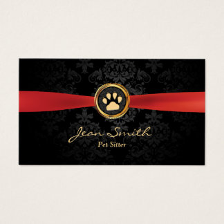 Pet Sitting Elegant Red Ribbon Gold Paw Damask Business Card