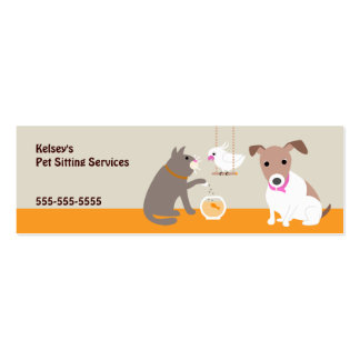 Pet Sitting Services Double-Sided Mini Business Cards (Pack Of 20)