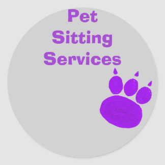 Pet Sitting Services Paw Print Classic Round Sticker