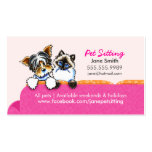 Pet Sitting Yorkie w/ Cat Couch Pink Pack Of Standard Business Cards