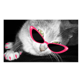 Pet Spa Salon - Cat With Pink Sunglasses Claws Business Card Template