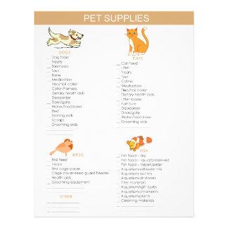 Pet Supplies Shopping list for dogs, cats, birds 21.5 Cm X 28 Cm Flyer