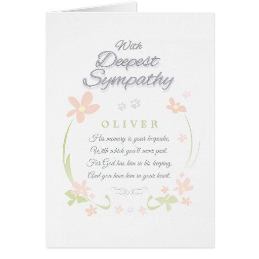Pet Sympathy Card - Male - Deepest Sympathy