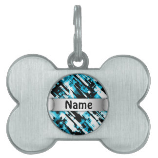Pet Tag Hot Blue Black abstract digitalart G253