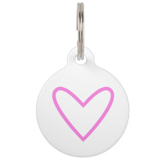 Pet tag with heart : pink, white