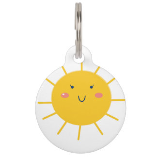 Pet tag with yellow Sun