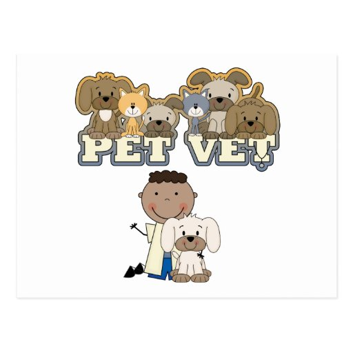 Pet Vet African American Male Tshirts and Gifts Postcards
