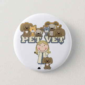 Pet Vet Blond Female Tshirts and Gifts 6 Cm Round Badge