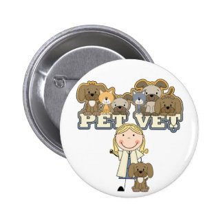 Pet Vet Blond Female Tshirts and Gifts Pin