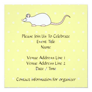 Pet White Mouse. Yellow Polka Dot Background. 13 Cm X 13 Cm Square Invitation Card