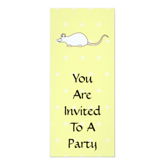 Pet White Mouse. Yellow Polka Dot Background. Card