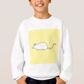 Pet White Mouse. Yellow Polka Dot Background. Sweatshirt
