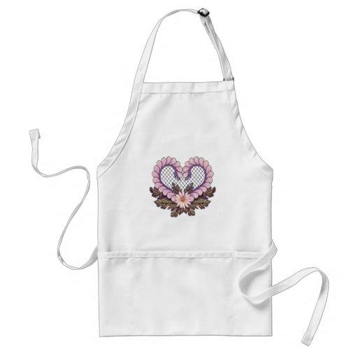 Petal Mesh Heart Pink Aprons