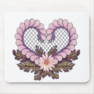 Petal Mesh Heart Pink Mouse Pad