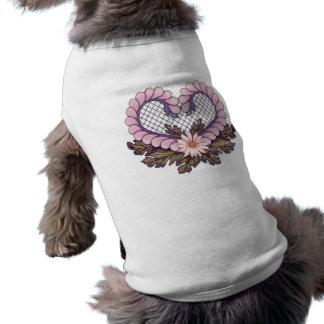 Petal Mesh Heart Pink Sleeveless Dog Shirt