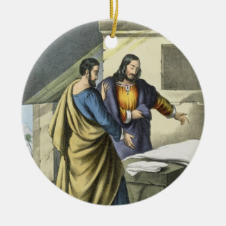 Peter and John at the Sepulchre, from a bible prin Round Ceramic Decoration