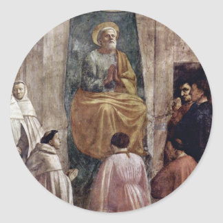 Peter In Cathedra By Masaccio (Best Quality) Round Sticker