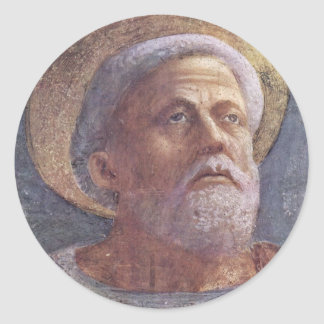 Peter In Cathedra  By Masaccio (Best Quality) Round Stickers
