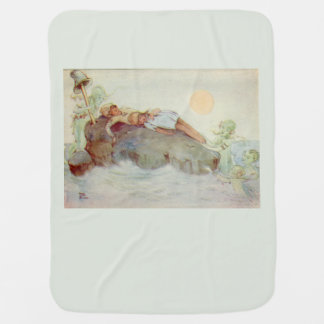 Peter Pan and Wendy Asleep with Mermaids green Baby Blanket