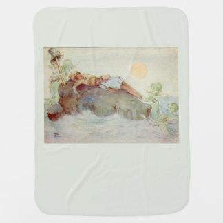 Peter Pan and Wendy Asleep with Mermaids green Buggy Blanket