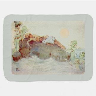 Peter Pan and Wendy Asleep with Mermaids Receiving Blankets