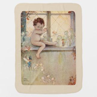 Peter Pan at window - fairies -beige background Pramblanket