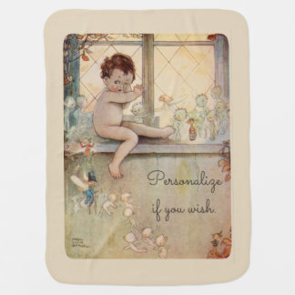 Peter Pan at window - fairies -beige background Receiving Blankets