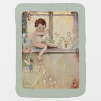 Peter Pan at window with fairies - moss background Baby Blankets