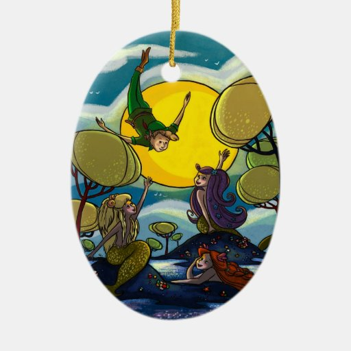 Peter Pan Double-Sided Oval Ceramic Christmas Ornament